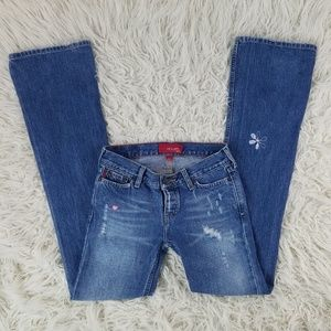 Hollister 💕🌼 Skinny Flare Jean's w Embroidery